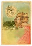 Bella principessa di favola che bacia una rana Fotografia Stock Libera da Diritti