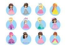 Bella principesse Flat Vector Icons Set del fumetto Fotografie Stock Libere da Diritti