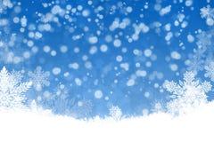 Bella priorità bassa di natale con i fiocchi di neve Immagini Stock