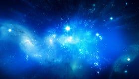Bella priorità bassa blu della galassia Fotografia Stock
