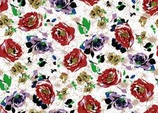 Bella progettazione del modello di fiore dell'acquerello senza cuciture illustrazione di stock