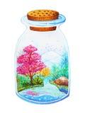 Bella progettazione della pittura dell'acquerello del giardino della bottiglia di vetro Immagini Stock