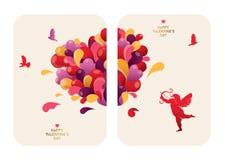 Bella progettazione di carte di San Valentino con cuore, il cupido e gli uccelli astratti Immagine Stock Libera da Diritti