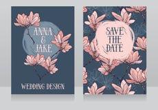 Bella progettazione di nozze con i fiori della magnolia Fotografia Stock Libera da Diritti