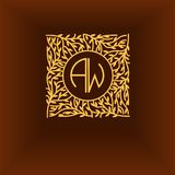 Bella progettazione floreale del monogramma, linea elegante logo di arte, modello di vettore Fotografie Stock