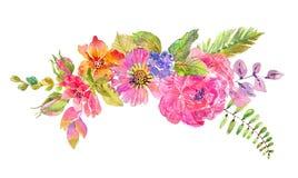 Bella progettazione floreale dell'acquerello fotografie stock