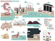 Bella progettazione grafica di Singapore con colore leggero Fotografie Stock
