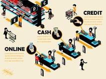 Bella progettazione grafica isometrica del deposito del rivenditore Immagini Stock Libere da Diritti