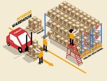 Bella progettazione isometrica del magazzino interno Immagine Stock