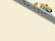 Bella progettazione isometrica del motociclo di motore-sport sulla pista di corsa Immagini Stock
