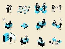 Bella progettazione isometrica dell'insieme della gente di affari del maschio e femmina in ogni situazione Fotografie Stock Libere da Diritti
