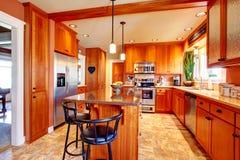 Bella progettazione luminosa della stanza della cucina Fotografia Stock
