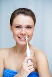 bella pulizia la sua donna del toothbrush dei denti Immagine Stock Libera da Diritti