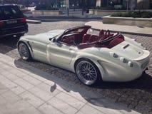 Bella raccolta bianca del punto dell'automobile scoperta a due posti dell'automobile Fotografie Stock