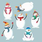Bella raccolta piana del pupazzo di neve di progettazione illustrazione vettoriale