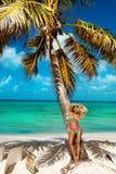 Bella ragazza abbronzata nei supporti alla moda del bikini accanto ad una palma sulla spiaggia di un'isola tropicale Vacanze esti fotografia stock libera da diritti