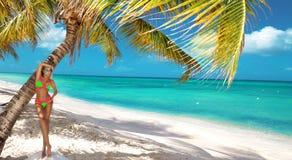 Bella ragazza abbronzata nei supporti alla moda del bikini accanto ad una palma sulla spiaggia di un'isola tropicale Vacanze esti immagini stock libere da diritti