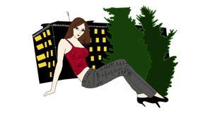 Bella ragazza alla notte illustrazione vettoriale