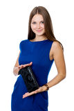 Bella ragazza allegra con una borsa nera Fotografie Stock