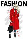 Bella, ragazza alta e snella in cappotto alla moda, pantaloni e vetri Donna alla moda in scarpe a tacco alto Modo & stile royalty illustrazione gratis