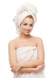 Bella ragazza in asciugamano fotografie stock