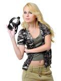 Bella ragazza bionda con una mascherina immagini stock libere da diritti