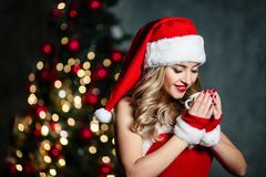 Bella ragazza bionda sexy in costume rosso di Santa Claus in scarpe rosse delle calze bianche che sorride vicino all'albero di Na immagini stock libere da diritti