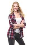 Bella ragazza bionda Smilig e piegare le sue braccia Fotografia Stock