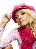 Bella ragazza bionda in una protezione fotografie stock libere da diritti