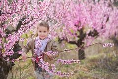 Bella ragazza bionda vestita alla moda sveglia che sta su un campo di giovane pesco della molla con i fiori rosa Ragazza sorriden Immagini Stock Libere da Diritti
