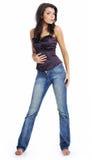 Bella ragazza in blue jeans Fotografie Stock