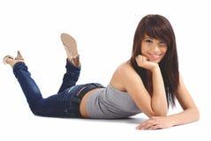 Bella ragazza in blue jeans immagini stock libere da diritti