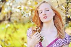 Bella ragazza in buona salute in albero di fioritura Occhi chiusi Immagine Stock Libera da Diritti