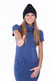 Bella ragazza in cappello di inverno Fotografie Stock