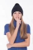 Bella ragazza in cappello di inverno Immagine Stock