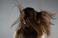 Bella ragazza castana con capelli ventosi Fotografia Stock