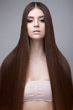 Bella ragazza castana con i capelli perfettamente lisci e un trucco classico Fronte di bellezza fotografie stock libere da diritti