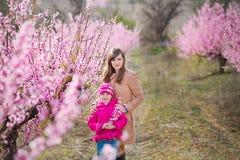 Bella ragazza castana vestita alla moda sveglia con la mamma della madre che sta su un campo di giovane pesco della molla con il  Fotografie Stock Libere da Diritti