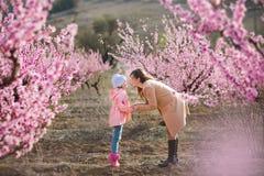 Bella ragazza castana vestita alla moda sveglia con la mamma della madre che sta su un campo di giovane pesco della molla con il  Fotografia Stock Libera da Diritti