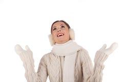 Bella ragazza che attende neve fotografie stock libere da diritti