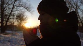 Bella ragazza che beve dal tè caldo della tazza di vetro al tramonto nel parco di inverno Su aria gelida, il vapore aumenta da ve archivi video