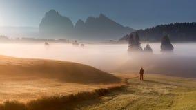 Bella ragazza che esamina sol levante nelle alpi del sud del Tirolo Immagine Stock Libera da Diritti