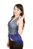 Bella ragazza che indossa la cima blu del raccolto Immagini Stock Libere da Diritti
