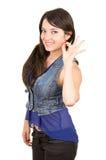 Bella ragazza che indossa la cima blu del raccolto Fotografia Stock Libera da Diritti
