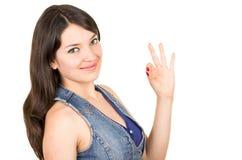Bella ragazza che indossa la cima blu del raccolto Immagine Stock Libera da Diritti