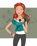 Bella ragazza che lavora con le teste di legno Royalty Illustrazione gratis