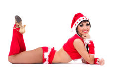 Bella ragazza che porta i vestiti del Babbo Natale Immagine Stock