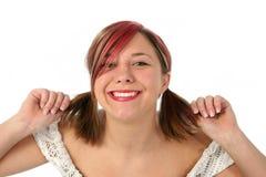 Bella ragazza che tira capelli Fotografie Stock Libere da Diritti