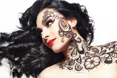 Bella ragazza con body art Immagine Stock Libera da Diritti