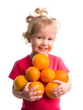 Bella ragazza con gli aranci Fotografia Stock Libera da Diritti